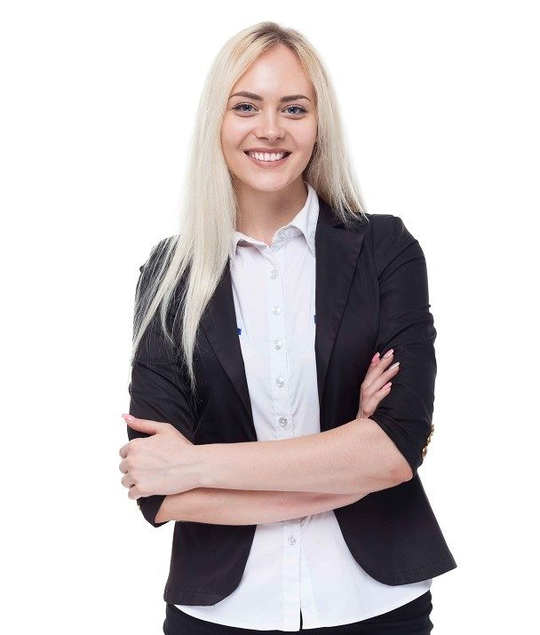Young blonde businesswoman smile, folded hands, attractive business woman, student girl isolated over white background